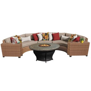 Outdoor Home Bayou 6-piece Outdoor Patio Rounded Wicker Sectional With Fire Pit