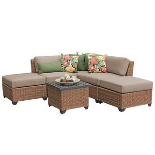 Outdoor Home Bayou Aluminum/Wicker 6-piece Outdoor Patio Sectional with End Table