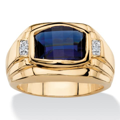 Men's 2.20 TCW Cushion-Cut Lab Created Blue Sapphire and Diamond Accent Ring 18k Yellow Gold-Plated