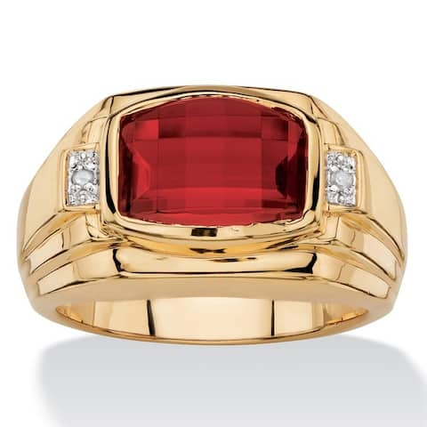 Men's 2.20 TCW Cushion-Cut Lab Created Red Ruby and Diamond Accent Ring 18k Yellow Gold-Plated