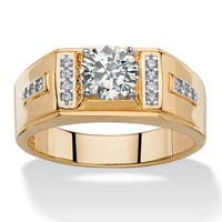 Men'S 1.38 Tcw Round And Pave White Cubic Zirconia Classic Ring