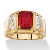 Men's 3 TCW Genuine Red Garnet and Diamond Classic Ring Gold-Plated