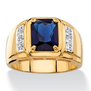 Men's 2.41 TCW Emerald-Cut Lab Created Blue Sapphire and Genuine Diamond Classic Ring Gold-Plate