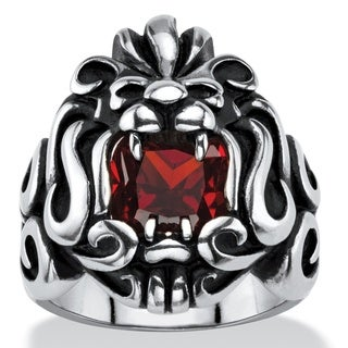 Men's 2.65 TCW Square-Cut Garnet Red Cubic Zirconia Tribal Lion Ring in Antiqued Stainless Steel (More options available)