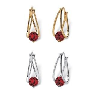 """Round Birthstone Crystal Split-Hoop Earrings 2-Pair Set in Silvertone and Gold Tone 1/2"""" Color Fun"""