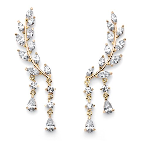 Marquise-Cut Crystal Ear Climber Earrings in Gold Tone with Round and Pear Drop Accents Bold Fashion