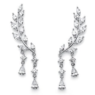 Marquise-Cut Crystal Ear Climber Earrings in Silvertone with Pear Drop Accent Bold Fashion