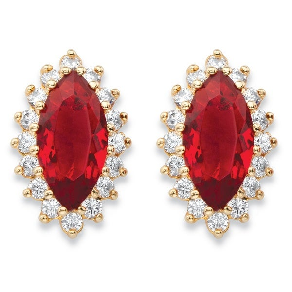 ef07fb5ad .80 TCW Marquise-Cut Simulated Red Ruby and Cubic Zirconia 18k Yellow Gold-