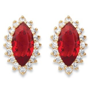 .80 TCW Marquise-Cut Simulated Red Ruby and Cubic Zirconia Yellow Gold-Plated Halo Stud Earrings