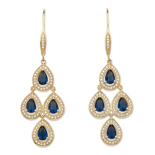 .90 Tcw Pear-Cut Simulated Blue Sapphire And Cubic Zirconia Halo Chandelier Earrings Yellow Gold