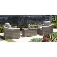 Marina Club Grey Wicker/Aluminum 3-piece Chair and Coffee Table Set