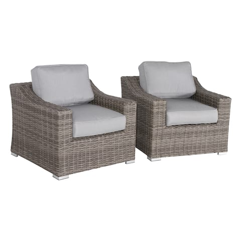 Marina Wicker Club Chairs With Grey Cushions (Set of 2)