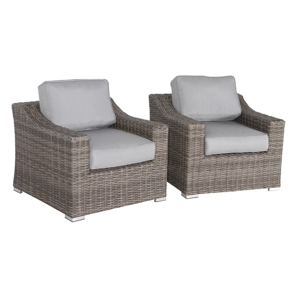 Marina Wicker Club Chairs With Grey Cushions (Set of 2). Opens flyout.