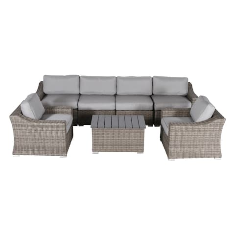 Living Source International Marina Grey Aluminum/Wicker 7-piece Sectional Club Set