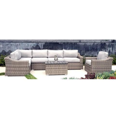 Patio Sofa Set, Marina Conversation Wicker 7-piece Club Set