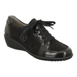 Women's ara Linda 44250 Sneaker Black Abrasivato/Pin Dot Suede Combo