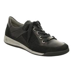 Women's ara Rina 44420 Sneaker Black Suede/Calf/Crinkle Patent Combo