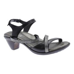 Women's Naot Innovate Heeled Sandal Black Madras Leather/Microfiber/Clear Rhinestones