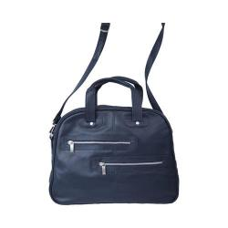 Women's Piel Leather Double Zip-Pocket Satchel 3115 Navy