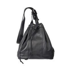 Women's Piel Leather Drawstring Bag 3116 Black