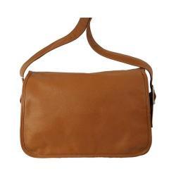 Women's Piel Leather Flap-Over Crossbody Bag 3113 Saddle
