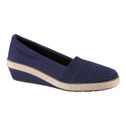 Women's Grasshoppers Petunia Slip-On Wedge Peacoat Navy Canvas/Stretch