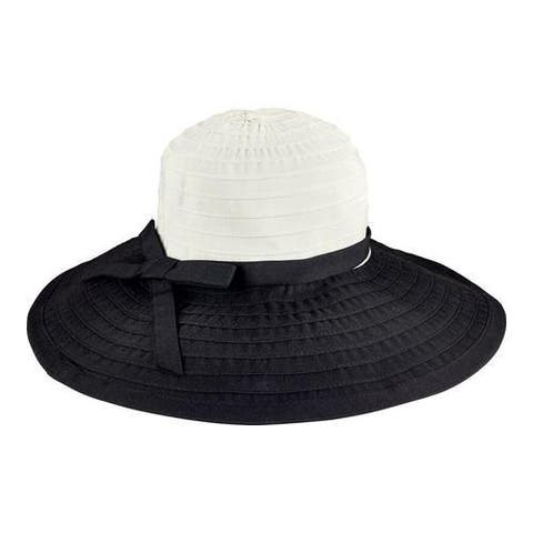 85b17e4fec269 Women s San Diego Hat Company Ribbon Large Brim Hat w  Bow RBL299  Black White