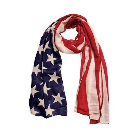 Women's San Diego Hat Company Woven American Flag Scarf BSS1701 Red