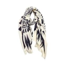 Women's San Diego Hat Company Woven Viscose Scarf BSS1695 White/Black