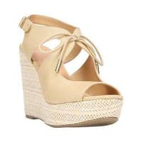 Women's Fergalicious Vicky Wedge Sandal Beige Lightweight Canvas