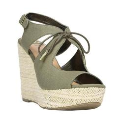 Women's Fergalicious Vicky Wedge Sandal Moss Lightweight Canvas