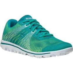 Women's Propet TravelActiv Knit Sneaker Green/Yellow 3-D Knit