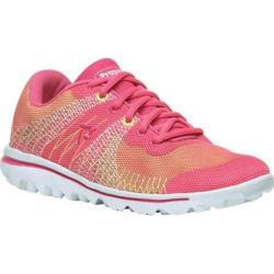 Women's Propet TravelActiv Knit Sneaker Pink/Yellow 3-D Knit