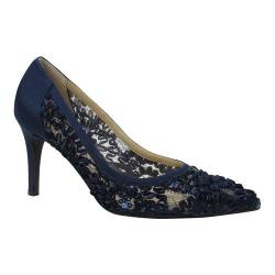 Women's J. Renee Camellia Pointy Toe Pump Navy Lace/Satin