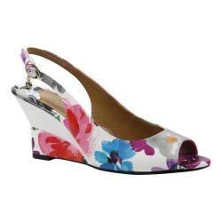 Women's J. Renee Sailaway Wedge Slingback Bright Multi Floral Patent