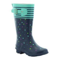 Girls' Western Chief Classic Tall Rain Boot Navy Dazzling Dots