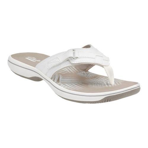 clarks sea breeze flip flops white
