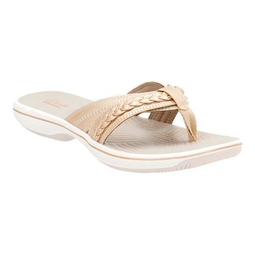 1e150689bdd2 Shop Women s Clarks Brinkley Nora Flip Flop Gold Synthetic - Free Shipping  Today - Overstock - 14112153