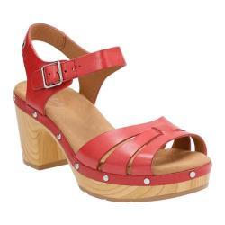 Women's Clarks Ledella Trail Strappy Sandal Red Leather