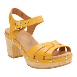 Women's Clarks Ledella Trail Strappy Sandal Yellow Leather