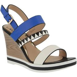 Women's Azura Antonietta Wedge Sandal Blue Multi Synthetic Leather