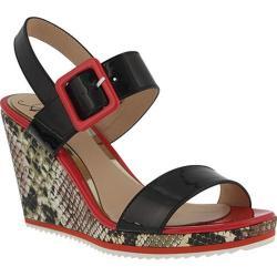 Women's Azura Nzuri Snake Print Wedge Sandal Black Multi Synthetic Leather