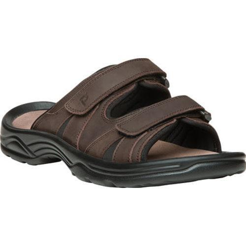 Men's Propet Vero Adjustable Strap Slide Brown Full Grain Leather