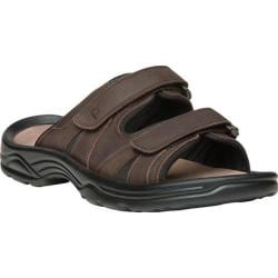 Men's Propet Vero Adjustable Strap Slide Brown Full Grain Leather