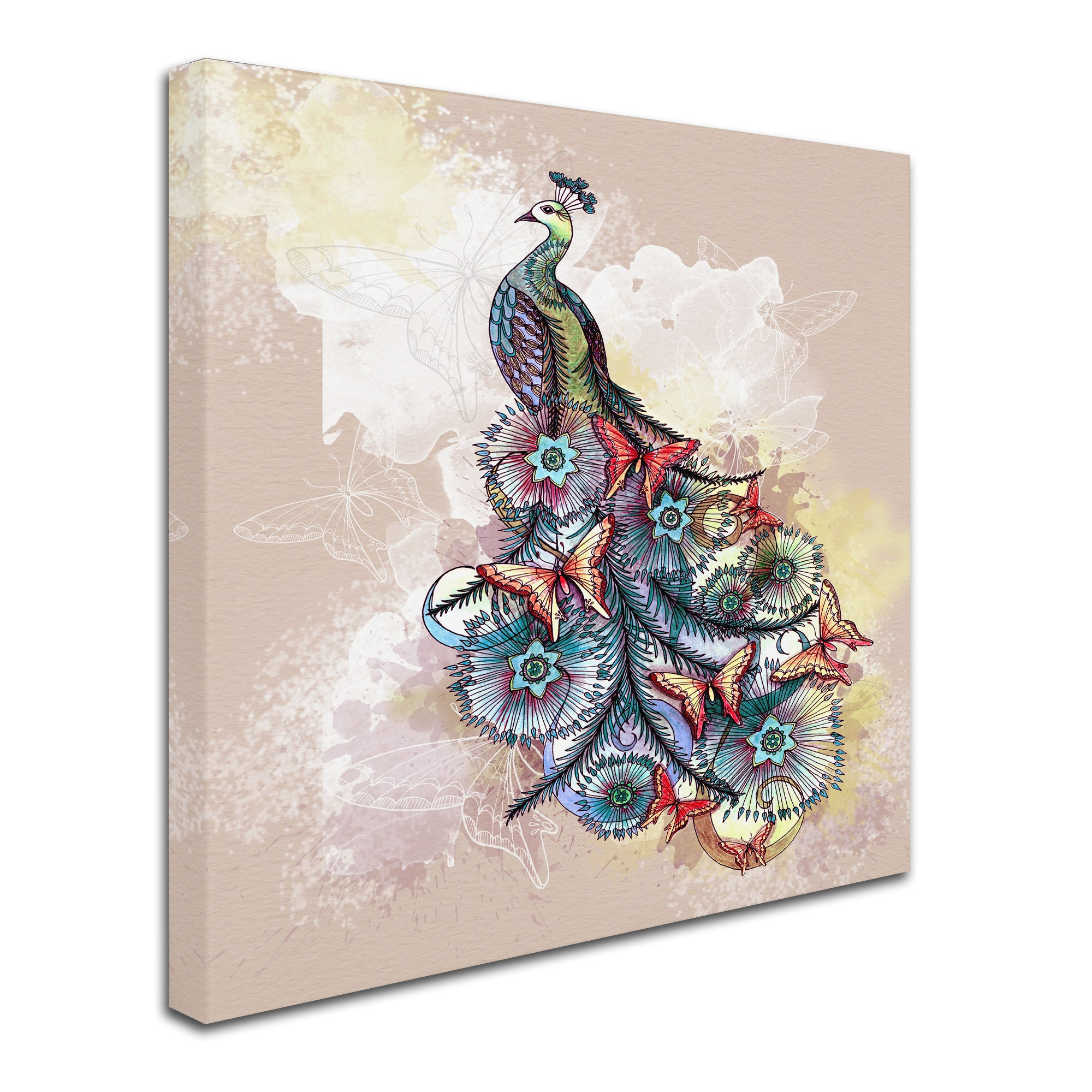 The Tangled Peacock Butterfly Peacock Canvas Art Overstock 16600244