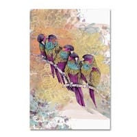 The Tangled Peacock 'Purple Parrots' Canvas Art