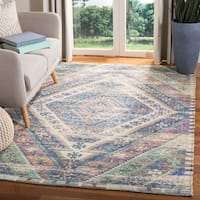 Safavieh Safran Handmade Blue/ Pink Cotton Area Rug - 4' x 6'