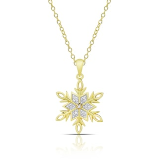 Finesque Gold over Sterling Silver Diamond Accent Snowflake Necklace (I-J, I2-I3)
