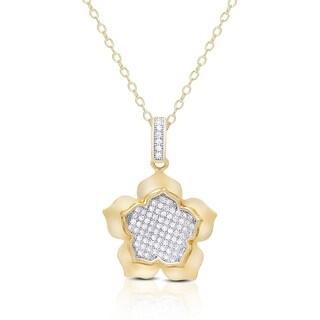 Samantha Stone Gold over Sterling Silver Cubic Zirconia Flower Necklace