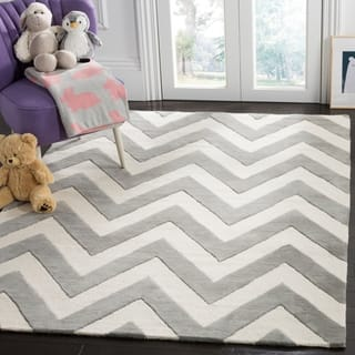 Safavieh Kids Transitional Geometric Hand Tufted Wool Grey Ivory Area Rug 5